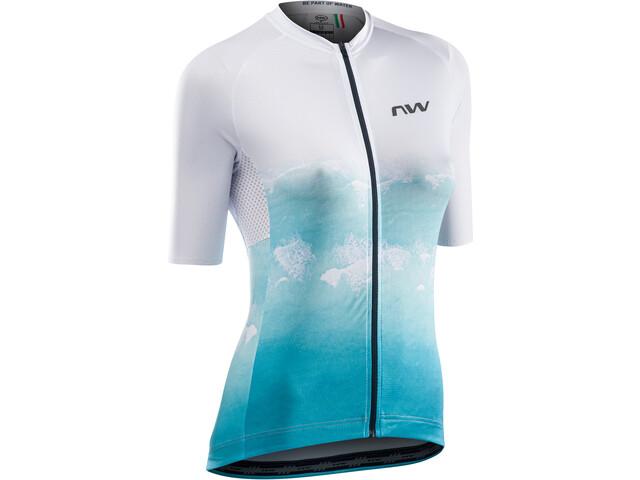 Northwave Water Short Sleeve Jersey Women, blanco/azul